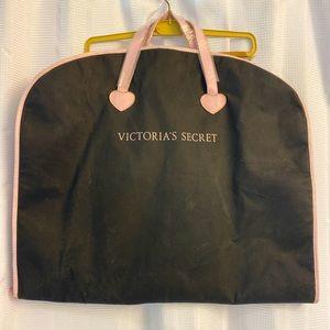 Victoria SecretTravel Dress Clothes Organizer Garment Bag Black/pink Leather NEW